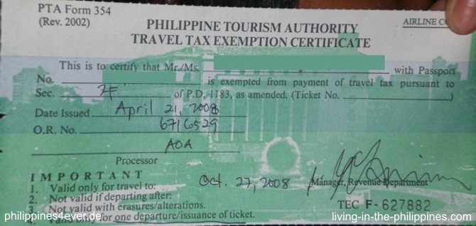 Travel Tax Exemption Certificate
